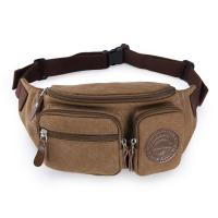 Cheap Mens Three Pockets Canvas Waterproof Fanny Pack Waist Bags With Adjustable Strap wholesale