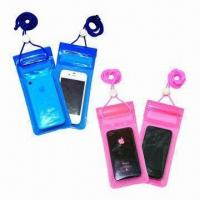 Cheap Waterproof PVC Holder for iPhone, with 3 Lock Zipper Closures, Small in Size wholesale