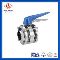 Cheap Three Piece Sanitary Stainless Steel Valves Butt Welded Sanitary Butterfly Valve wholesale