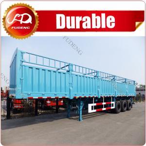 Cheap 3 axles 45T fence cargo semi trailer/ tri-axles sidewall cargo truck trailer to transport livestock,animals wholesale