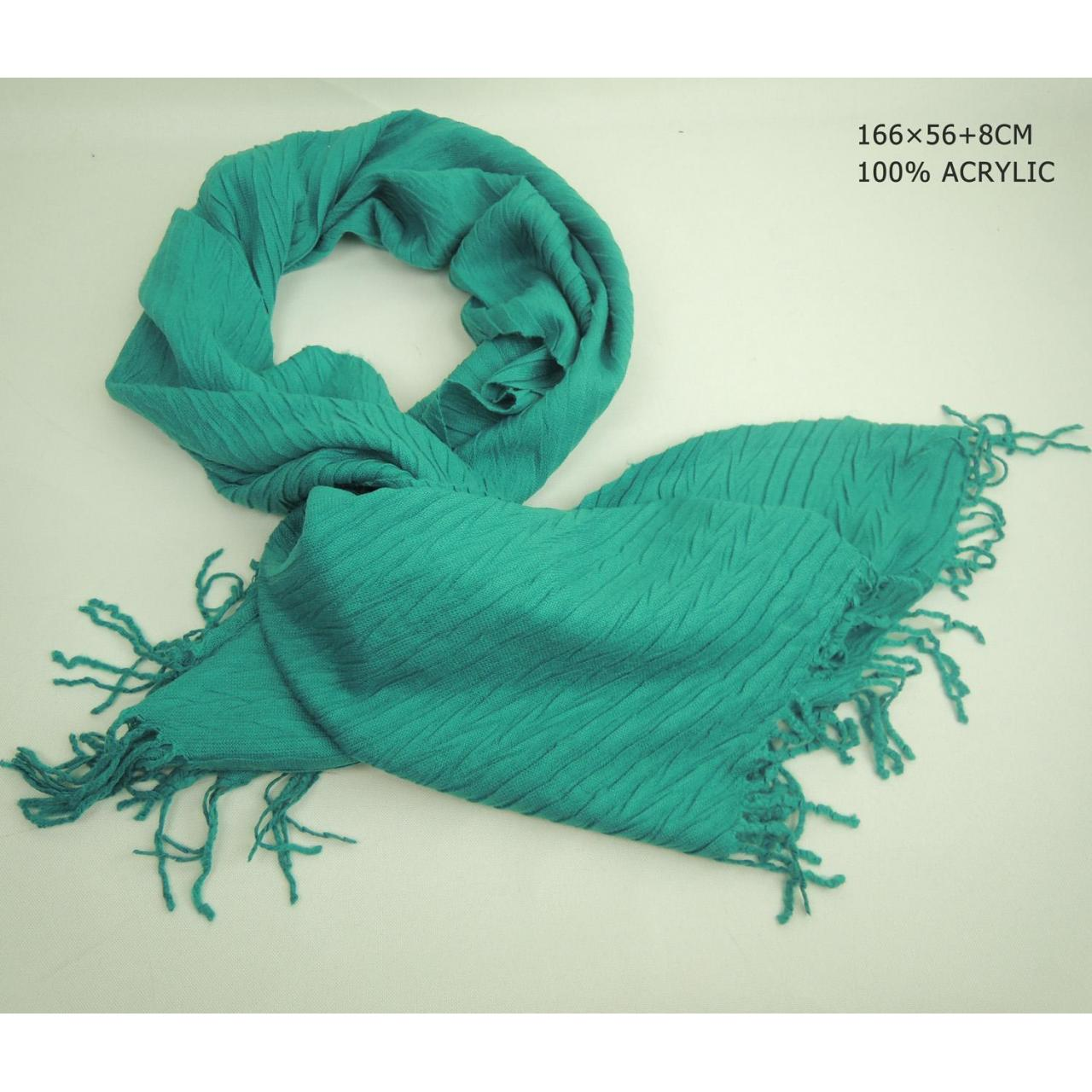 Cheap Green Ladies solid long scarf with fringe wholesale