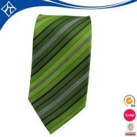 Cheap high quality custom color green stripe tie wholesale
