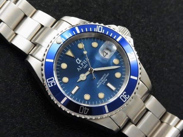 Quality ALPHA SUBMARINER IRON BLUE DIAL SAPPHIRE CRYSTAL AUTOMATIC MANS WATCH MIYOTA JAPAN MOVEMENT for sale
