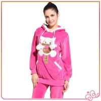 2014 latest design cute pink velvet women brand animal design design women pyjam