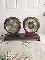 Vintage-brass Chelsea Ships Bell Clock And Barometer Wthermometer Set W Advert.