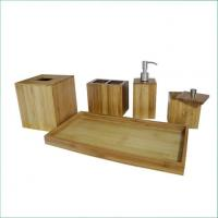 Cheap Natural Bamboo Panel Great Quality Bamoo Bathroom Accessories Set for Spa wholesale