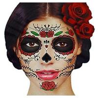 Cheap Glitter Red Roses Day of the Dead Sugar Skull Temporary Face Tattoo Kit - Pack of 2 Kits wholesale