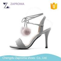 China HN027 Special Design Faux Fur Ball High Quality Ladies High Heel Sandals on sale