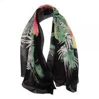 Cheap New Women Scarf with Flowers Black Chiffon Scarves DS3013 wholesale