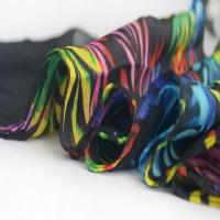 Buy cheap New Women Chiffon Scarf with Rainbow Leaves Black YQ1030 from wholesalers