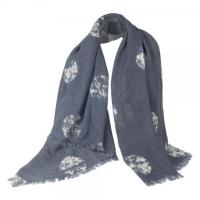 Cheap Elegant White Roses Women Scarves Navy Square Scarf DS3017 wholesale