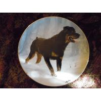 Cheap Art Glass Danbury Mint collector Plate Rottweilers by John Silver Winter Walk wholesale
