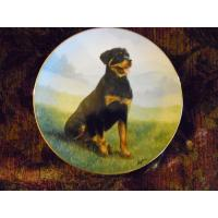 Cheap Art Glass Danbury Mint collector plate At Attention Rottweiler series wholesale