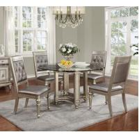 China Coaster 106470 Danette Platinum Round Glass Dining Table Set on sale