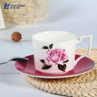 Cheap Cup and Saucer Unique design rose decal fine bone china cups with saucer for sale