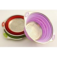 Cheap High quality food grade fruits and vegetables silicone collapsible colander wholesale