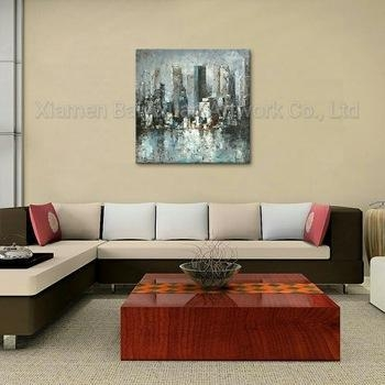 Quality 100% Handmade Streched Abstract Street Oil Painting for sale