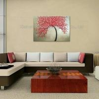 Cheap Modern Abstract Red Leaf Tree with Frame Knife Oil Painting wholesale