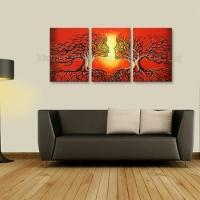 Cheap 3 Pieces Handpainted Group Abstract Tree People Oil Painting wholesale