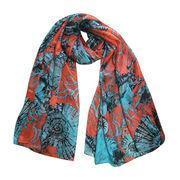 Cheap 100% Silk Scarves, Red and Blue Modern Design Printing Neckerchief wholesale
