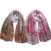 Cheap Ladies' Woven Scarves, Printed with Contrast Color Flower Allover wholesale