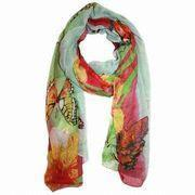 Cheap Fashion Scarf, Women's Sheer Butterfly Printed Scarf, Green Scarf wholesale