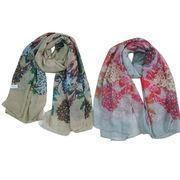 Cheap Summer printed scarves, made of 100% polyester, suitable for ladies wholesale