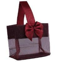 "Cheap Burgundy Sheer Tote with Satin Handle & Bow (3.25"" x 3.25"" x 2""), 12 bags SHTOTE-BU-D wholesale"
