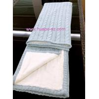 Cheap cotton/acrylic sweater blanket with fake fur wholesale