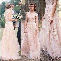 Champagne Vintage Lace Wedding Dresses Cap Sleeve Bridal Gowns Custom Size 2017