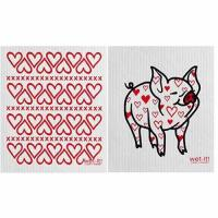 Wet-It Swedish Treasures Dishcloth Set of 2 Hearts and Pig with Heart