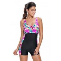 Black Panel Insert Multicolor Crystal One Piece Swimsuit LC410010