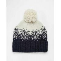 ASOS Bobble Beanie in Navy And Ecru Lambswool with Fair Isle Design Men O56s8075MF7