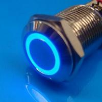 Cheap 12mm Anti Vandal Momentary Blue Ring Switch wholesale