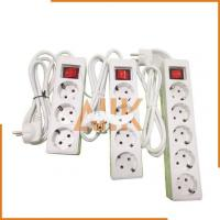 4 Ways Receptacles with Cord and European Plug (2 Round Pins)