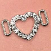 Cheap Heart-Shaped Rhinestone Studded Buckles, Suitable for Brassiere and Underwear wholesale