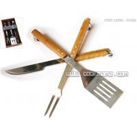 Cheap 3pcs bamboo handle bbq tools for sale