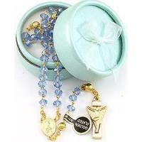 China Lady of Fatima Rosary w/ Blue Crystal Beads on sale
