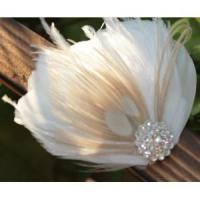 Cheap KISSPAT Bridal Fascinator Clip,Wedding Headpieces,Feather Accessory with White Dimaond Jewel wholesale