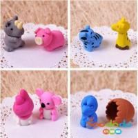Adorable animal shaped 3D pencil eraser