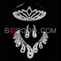 Cheap Weddings & Events 3 Pieces Shiny Clear Austrian Crystal Wedding Bridal Jewelry Sets wholesale