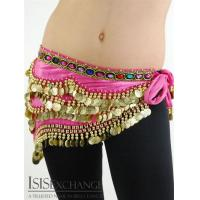 Cheap Velvet Coin Belly dance Hip Scarf - Fuchsia and Gold wholesale