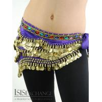 Cheap Velvet Coin Belly dance Hip Scarf - Purple and Gold wholesale
