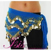 Cheap Double Coin Belly dance Hip Scarf - Sky Blue and Gold wholesale