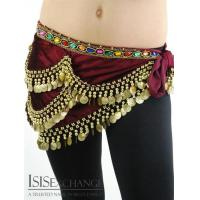 Cheap Velvet Coin Belly dance Hip Scarf - Maroon and Gold wholesale