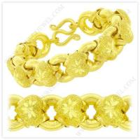 Cheap 5 Baht Sparkling Polished Diamond-Cut Hollow Heart Donut Link Chain Bracelet in 23k Thai Yellow Gold wholesale