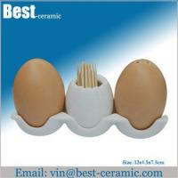 Ceramic salt&pepper shaker egg ceramic spice shaker set