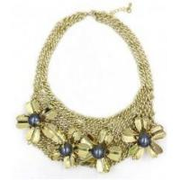 Cheap New style women female fashion newest design flower gold alloy necklace wholesale