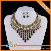 Cheap Handmade Crochet Black Rope Bib Indian Necklace Jewelry Set wholesale