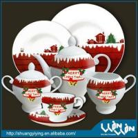 elegant Christmas design porcelain tea set